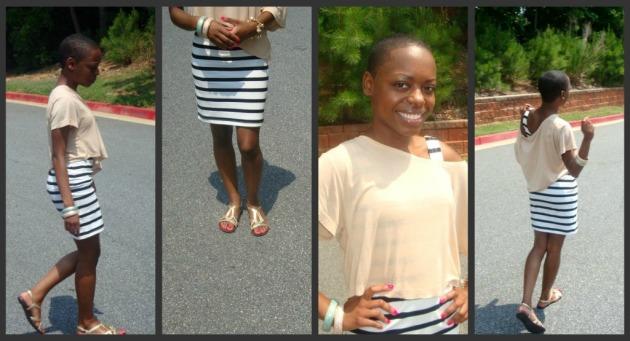 H&M tank dress & cropped tee, Target flats, F21 bracelets
