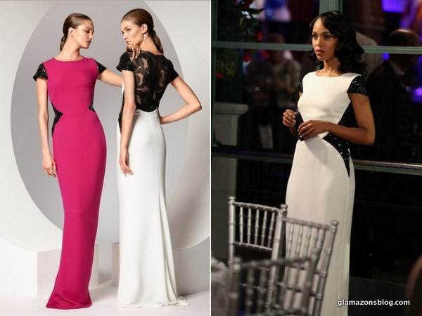 scandal olivia pope black white gown escada