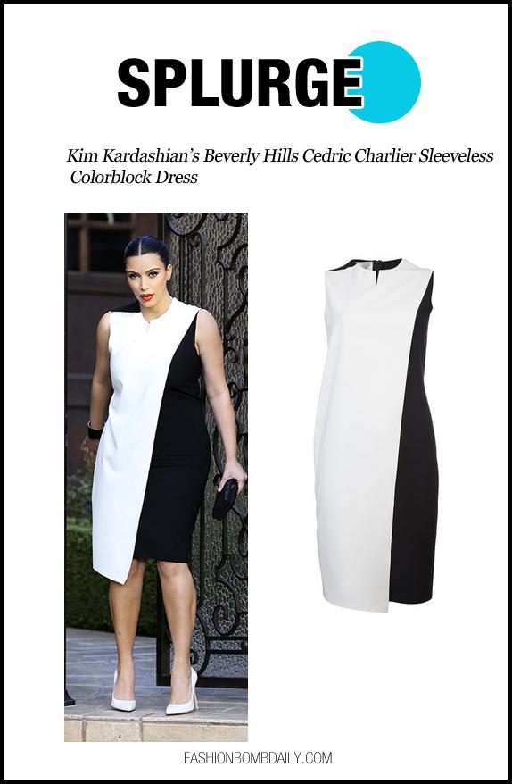 splurge-0221-Kim-Kardashian's-Beverly-Hills-Cedric-Charlier-Sleeveless-Colorblock-Dress-