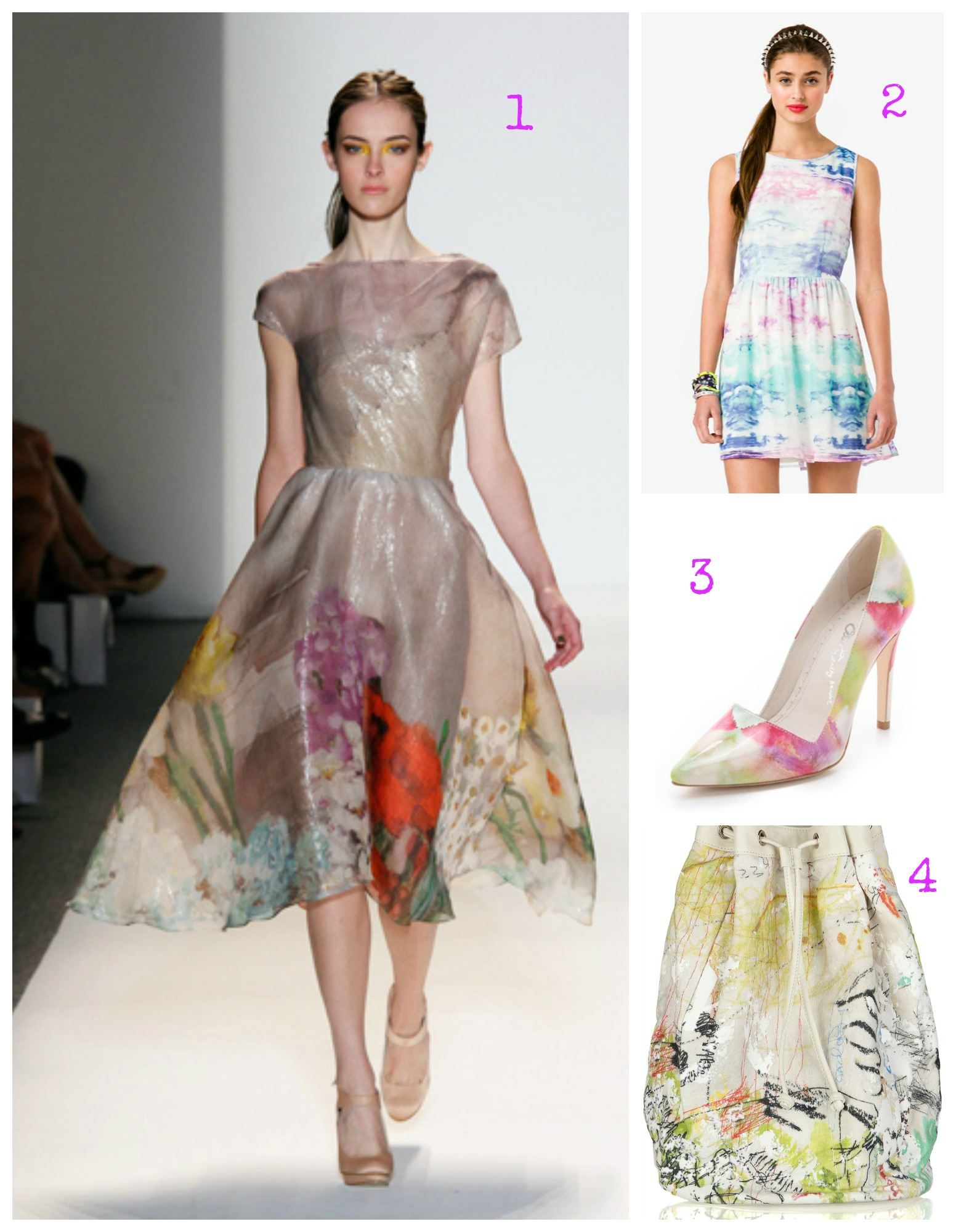 Lela Rose Floral Print Silk Organza Dress, Forever 21 Water Color Sky Fit & Flare Dress, Alice + Olivia Dina Watercolor Pumps, Alexander Wang Walker Printed Canvas Backpack